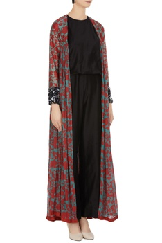 Floral front open cape with sequin cuffs