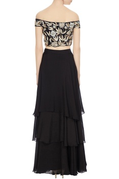 Black resham gold embroidered off-shoulder blouse with tiered skirt
