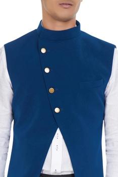 Blue cross-over jacket