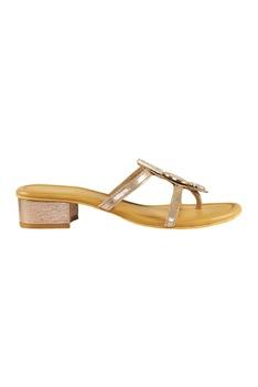 Brown pu kini diamond studded slip-on sandal