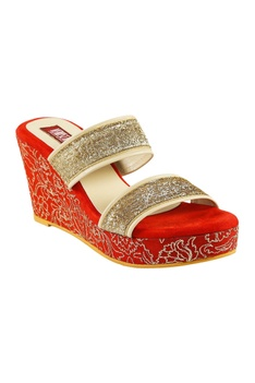 Red fabric & pu misha thread work wedges