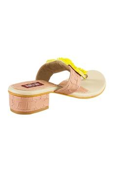 Baby pink maasai sulli & patch work slip-on sandals