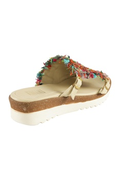Beige jute rosella jute thread detailed slip-on sandals