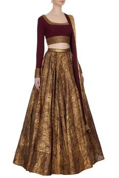 Burgundy & gold super flared lehenga with long sleeve blouse & net dupatta
