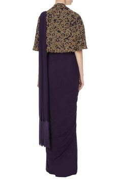Purple concept saree with attached drape & blouse with cape