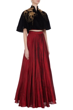 Maroon raw silk bustier blouse with lehenga & cape