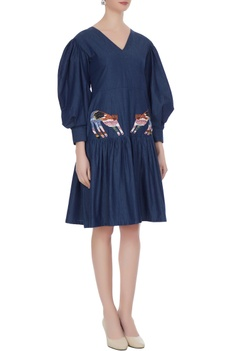 Navy blue trumpet sleeve denim midi dress with embroidered tiger patch