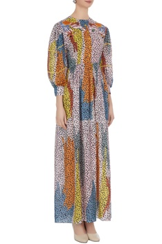 Multicolored leopard printed gathered sleeve dress