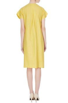 Yellow short sleeve mini dress