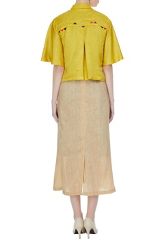 Bronze tussar linen dress with mustard french knot embroidered jacket
