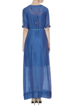 Blue modal silk maxi dress with bandhani hand dyed scarf