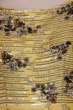 Mustard yellow chanderi sequin & ari technique long anarkali