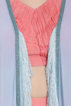 Deep pink & powder blue chiffon cutdana work & ari technique crop top & drapped dhoti with long separate jacket
