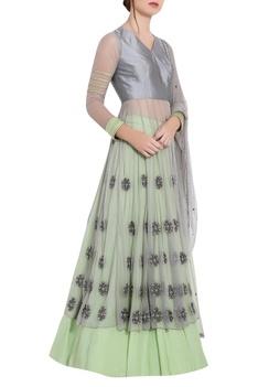 Grey & green silk thread work & ari technique anarkali with separate skirt