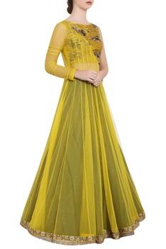 Yellow & green soft net sequin & ari technique crop top & skirt with angrakha long jacket