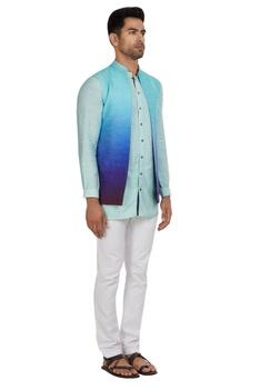 Raw silk nehru jacket with kurta & pants