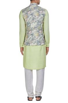 Raw silk floral nehru jacket with kurta & pants