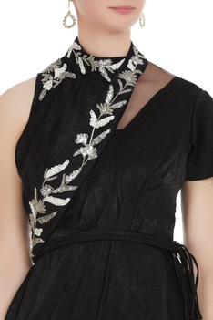 Velvet layered jumpsuit with bead embroidered sash
