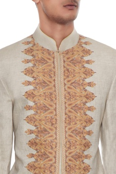 Beige & ivory kashmiri embroidered jacket