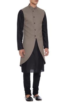 Grey high-low cotton silk sleeveless jacket with kurta & churidar
