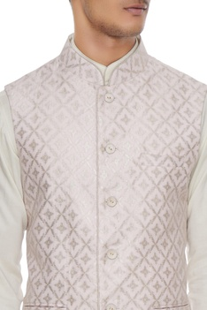 Powder pink chanderi banarasi & silk blend nehru jacket with kurta & churidar