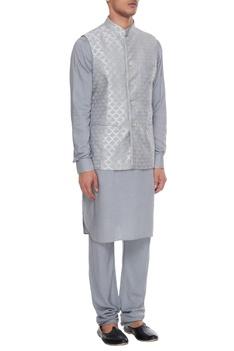 Powder blue chanderi banarasi & silk blend nehru jacket with kurta & churidar