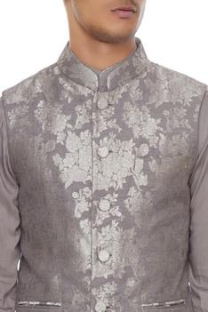 Dark grey chanderi banarasi & silk blend nehru jacket with kurta & churidar