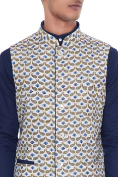 White & blue cotton and linen nehru jacket with kurta & churidar
