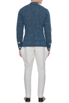 Navy blue khadi cotton shirt