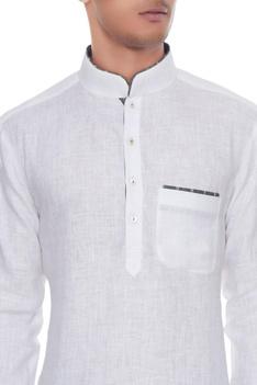 White & dark grey linen kurta with ikat churidar