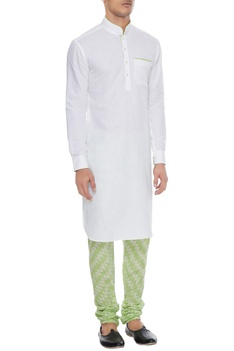 White & neon green linen kurta with ikat churidar