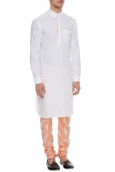 White & orange linen kurta with ikat churidar