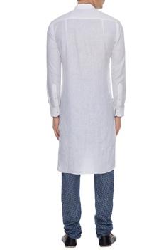 Blue & white linen kurta with printed churidar