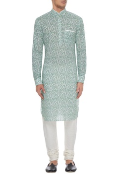 Blue printed cotton kurta with white churidar
