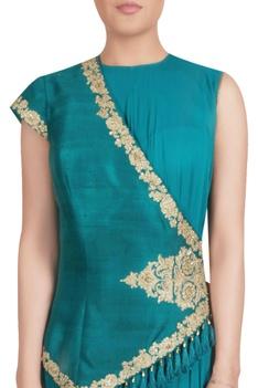 Teal raw silk asymmetric jacket with inner chiffon maxi kurta