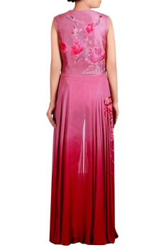 Pink dupion silk, georgette & cotton satin lycra machine embroidered anarkali tunic with trousers