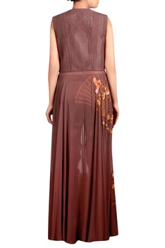 Brown dupion silk, georgette & cotton satin lycra machine embroidered anarkali tunic with trousers