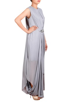 Grey georgette hand embroidered long draped tunic