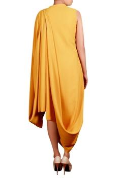 Mustard yellow moss crepe hand embroidered long draped tunic