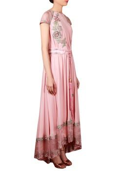 Pink georgette & organza machine & hand embroidered flared tunic