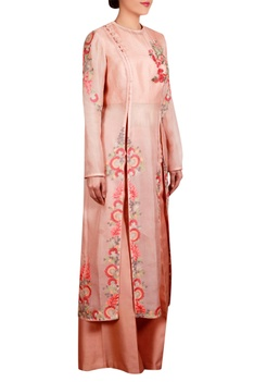 Peach organza straight jacket with inner & flared pants