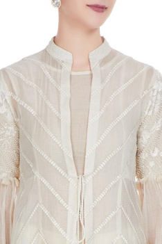 White chanderi pearl & thread embroidered jacket set