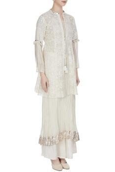 Off-white mirror work & thread embroidered jacket set