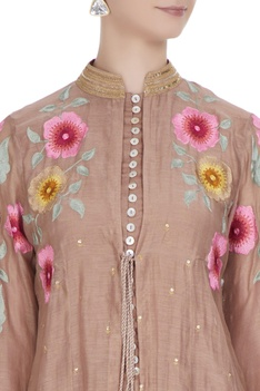 Brown chanderi floral embroidered jacket set