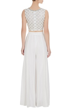 White georgette gota embroidered crop top with palazzos