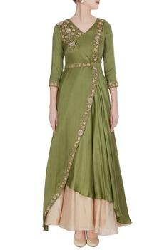 Mehendi green modal satin draped gown with beige skirt & belt