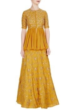 Mustard tussar silk & georgette hand embroidered lehenga with peplum blouse