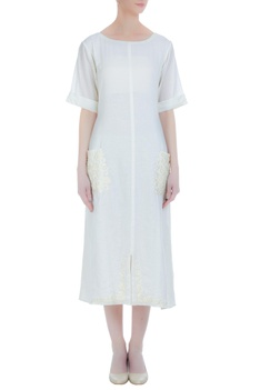 Cotton tunic with pearl embroidered pocket