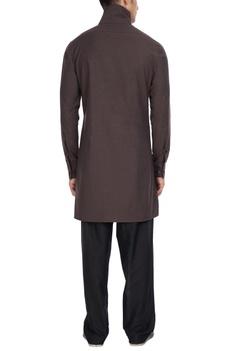 Chocolate brown high collar shirt style kurta