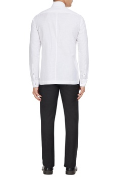 White cotton-linen blend long sleeve shirt